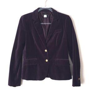 J. Crew factory purple velvet schoolboy blazer